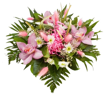 Flower bouquet on the white background