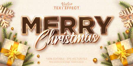 Illustration pour Merry christmas text, rose gold color style editable text effect - image libre de droit