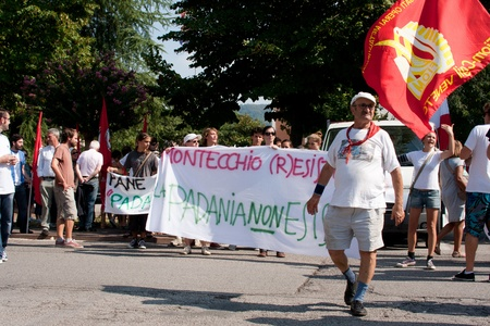 demonstration against the space of padania