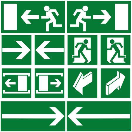 Green evacuation signs and symbols
