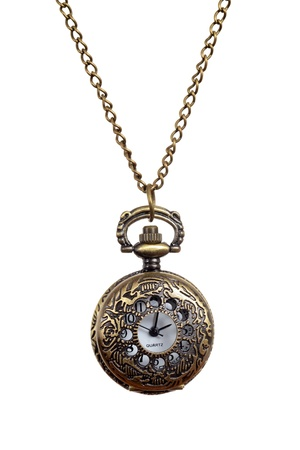 Isolated Vintage style woman pocket watch necklace