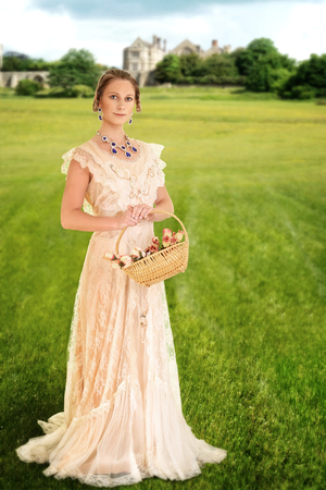 victorian woman with basket of roses