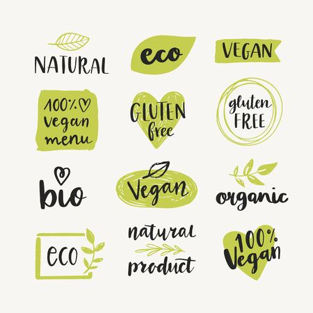 Illustration for Set of organic, eco, bio, natural, gluten free, vegan food labels and vector design elements. Healthy food logo templates. - Royalty Free Image