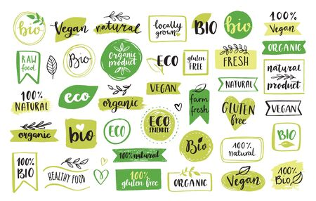 Illustration for Organic food, eco, vegan and natural product icons and elements set for food market, ecommerce, organic products packaging, healthy life promotion, restaurant. Hand drawn vector design elements. - Royalty Free Image