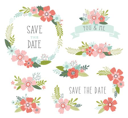 Illustration pour Floral elements vector collection. Wedding flower arrangments and wreath. Floral design elements including floral wreath frame, ribbons, bouquets. - image libre de droit