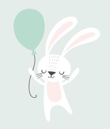 Illustration pour Cute rabbit holding a balloon. Childish illustration. Nursery wall art, kids party invitation, birthday greeting card, baby shower, poster. - image libre de droit