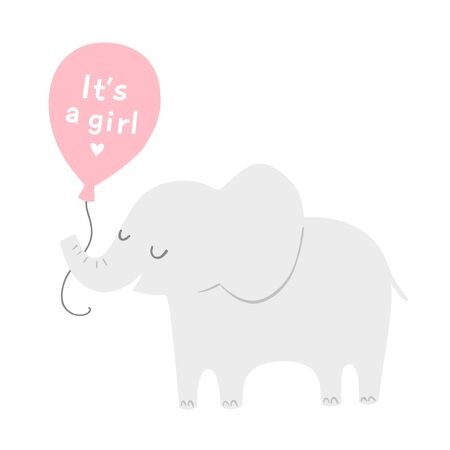 Illustration pour Cartoon elephant with a pink balloon for baby shower invitations or posters. Its a girl. Vector illustration. - image libre de droit