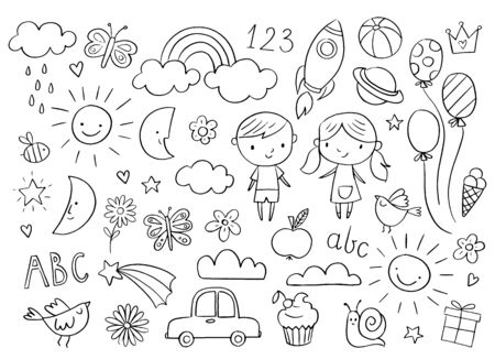 Illustration pour Vector handdrawn kids doodle set. Drawings for children on white background. Baby shower related design elements set. - image libre de droit