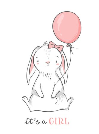 Illustration pour Baby shower card. It s a girl pink bunny with a balloon. Cute rabbit character. Nursery wall art illustration. - image libre de droit