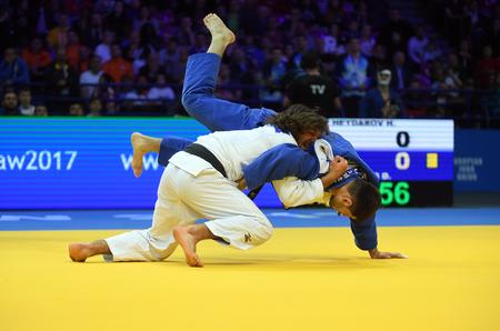 WARSAW, POLAND - APRIL 23: European Judo Championships Warsaw 2017, man bronze medal fights