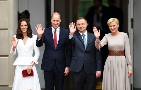 WARSAW, POLAND - JUNE 17, 2017: The Duke and Duchess of Cambridge visit in Polando / p Andrzej Duda, Agata Kornhauser-Duda, Wilhelm William prince of Cambridge, Kate Middleton