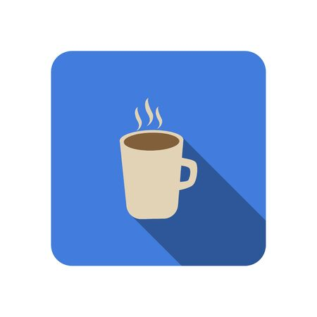 Coffee cup flat icon with long shadow tea cup