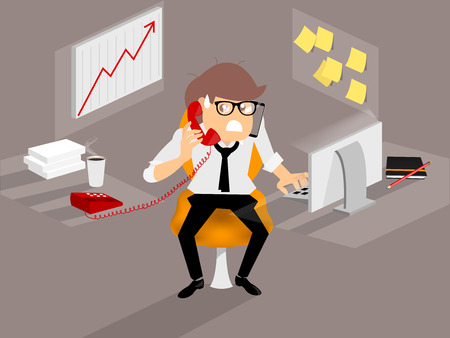 business man is very busy from many of work,work hard concept