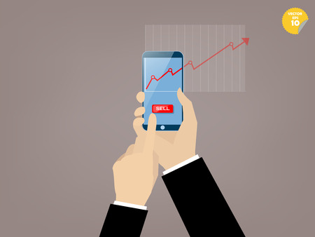 Hand of business man touching sell button of mobile stock trading application on the smartphone screen