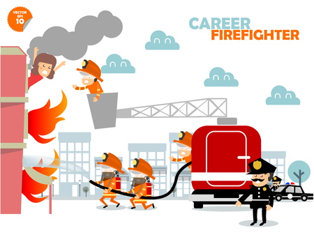 Firefighters fighting building on fire and rescuing woman who stuck in there,firefighters career concept design