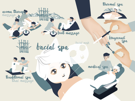 illustration graphic design vector of spa type including aroma therapy massage, traditional spa,foot massage,facial spa,facial mask,thermal spa,fingernail spa and medical spa, spa design concept