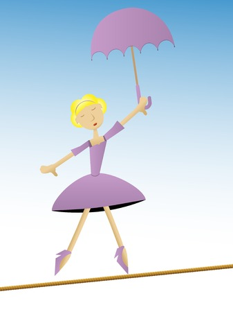 Woman in purple dress holding umbrella walking on tightrope