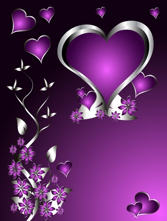 A purple hearts Valentines Day Background with silver hearts and flowers on a darker graduated background