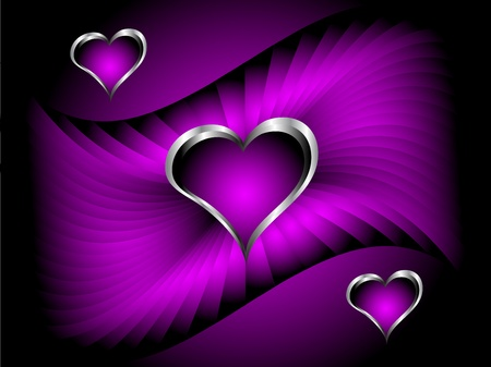 A purple hearts Valentines Day Background with silver hearts on a darker satin effect graduated background