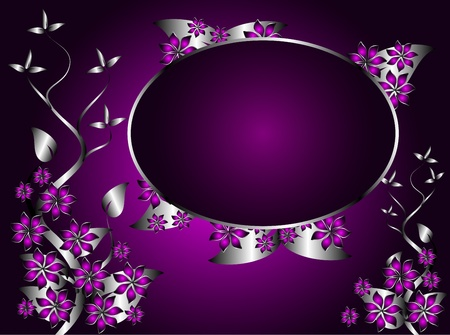A silver and purple floral design with an oval frame for text