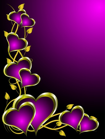 A valentines vector illustration with gold hearts with room for text on a deep purple background