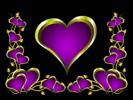 A purple hearts Valentines Day Background with gold hearts and flowers on a black background