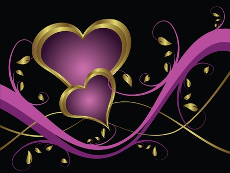 A purple hearts Valentines Day Background with gold hearts  on a purple and gold  background