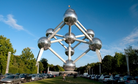 Brussels, Belgium - September 21, 2010  The Atomium is a monument in Brussels, originally built for Expo  58, the 1958 Brussels World s Fair  People can visit the Monument and have souvenir at the shop