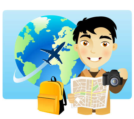 Young man travelling around the world with a map and a camera