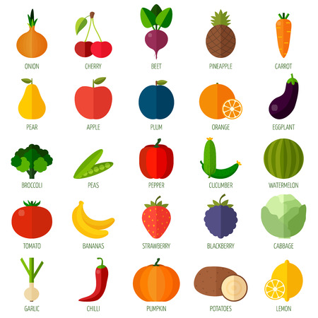 Colorful flat fruits and vegetables icons set. Template for cooking, restaurant menu and vegetarian foodのイラスト素材