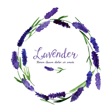 Foto de illustration for greeting cards with watercolor lavender. Wedding invitation card.   Colorful theme for your design, prints and illustrations - Imagen libre de derechos
