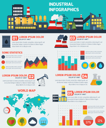 Illustration pour Modern industrial flat infographic background. Colorful template for you design, web and mobile applications. - image libre de droit