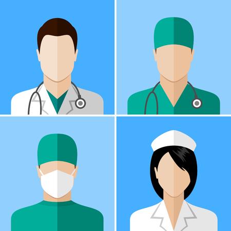 Ilustración de Doctor and nurse icons. Flat style design collection - Imagen libre de derechos