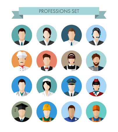 Illustration pour A set of professions people. Circle flat style icons. Occupation avatars. Business, medical, web, call center operator, workers. Vector illustration - image libre de droit