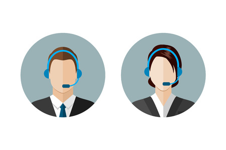 Illustration pour Call center operator icons. Man and woman with a headset. Customer support. Client services and communication,  phone assistance. Web icon, flat style vector illustration - image libre de droit