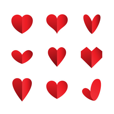 Photo pour set of heart icons isolated on white background - image libre de droit