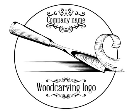 Illustration pour Woodcarving logotype Illustration with a chisel, cutting a wood slice, vintage style logo, black and white isolated. - image libre de droit