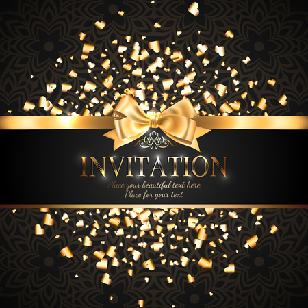 Illustration pour Gorgeous and shiny invitation card or banner with gold ribbon bow and sparkling golden hart-shaped glitter on black background with delicate pattern - image libre de droit