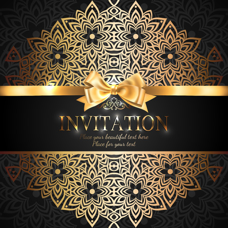 Illustration pour Gorgeous and shiny invitation card or banner with gold ribbon bow and place for text on black background with delicate lacy pattern - image libre de droit