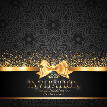 Illustration pour Gorgeous and shiny invitation card or banner with gold ribbon bow and sparkling golden glitter on black background with delicate pattern - image libre de droit