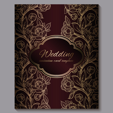 Foto für Exquisite red royal luxury wedding invitation, gold floral background with frame and place for text, lacy foliage made of roses or peonies with golden shiny gradient - Lizenzfreies Bild