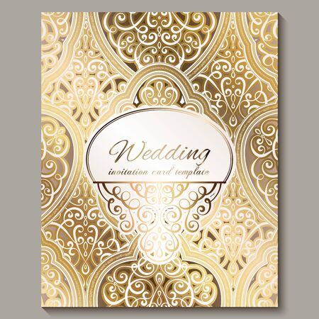 Illustration pour Wedding invitation card with gold shiny eastern and baroque rich foliage. Ornate islamic background for your design. Islam, Arabic, Indian, Dubai - image libre de droit