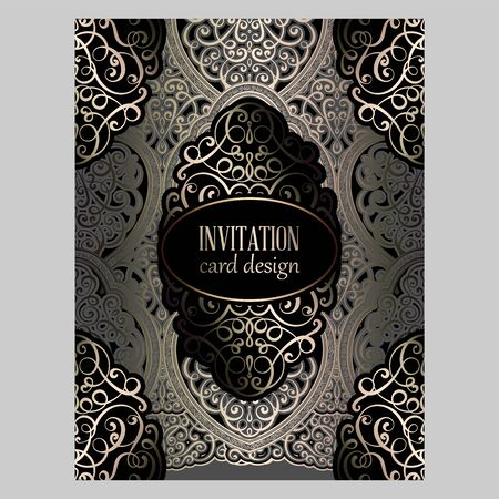 Illustration pour Wedding invitation card with gray and gold gold shiny eastern and baroque rich foliage. Ornate islamic background for your design. Islam, Arabic, Indian, Dubai - image libre de droit