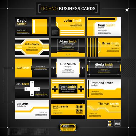 Illustration pour Set of 15 business cards in techno style. - image libre de droit