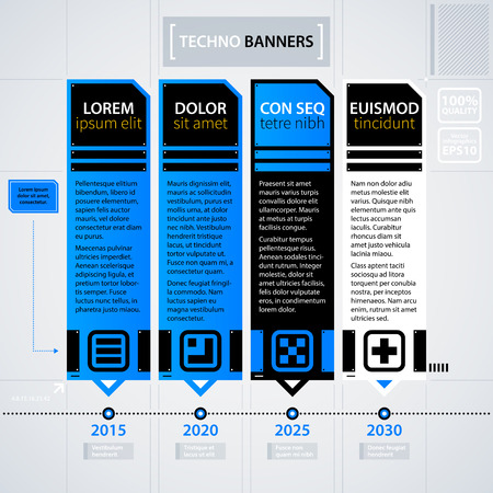 Modern timeline template. Futuristic techno business style. Useful for annual reports, presentations and advertising.