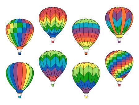 Illustration pour Set of Air Balloon Icons isolated on White - image libre de droit