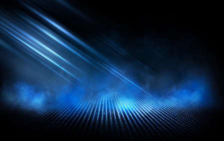 Photo pour Dark street, wet asphalt, reflections of rays in the water. Abstract dark blue background, smoke, smog. Empty dark scene, neon light, spotlights. Concrete floor - image libre de droit