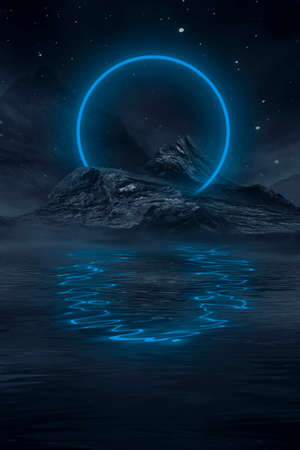 Photo pour Neon landscape, night view. Futuristic fantasy night landscape with abstract landscape and island, moonlight, radiance, moon, neon. Dark natural scene with light reflection in water. Neon space galaxy portal. - image libre de droit