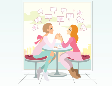 Illustration pour lovely girls friends drinking coffee and talking about news - image libre de droit