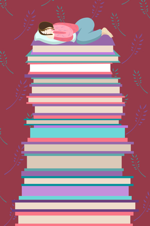 Illustration pour nice and clever girl is sleeping and dreaming on the pile of books - image libre de droit